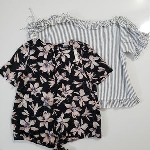 Madewell Floral Blouse & Lace Up Blouse Bundle NWT